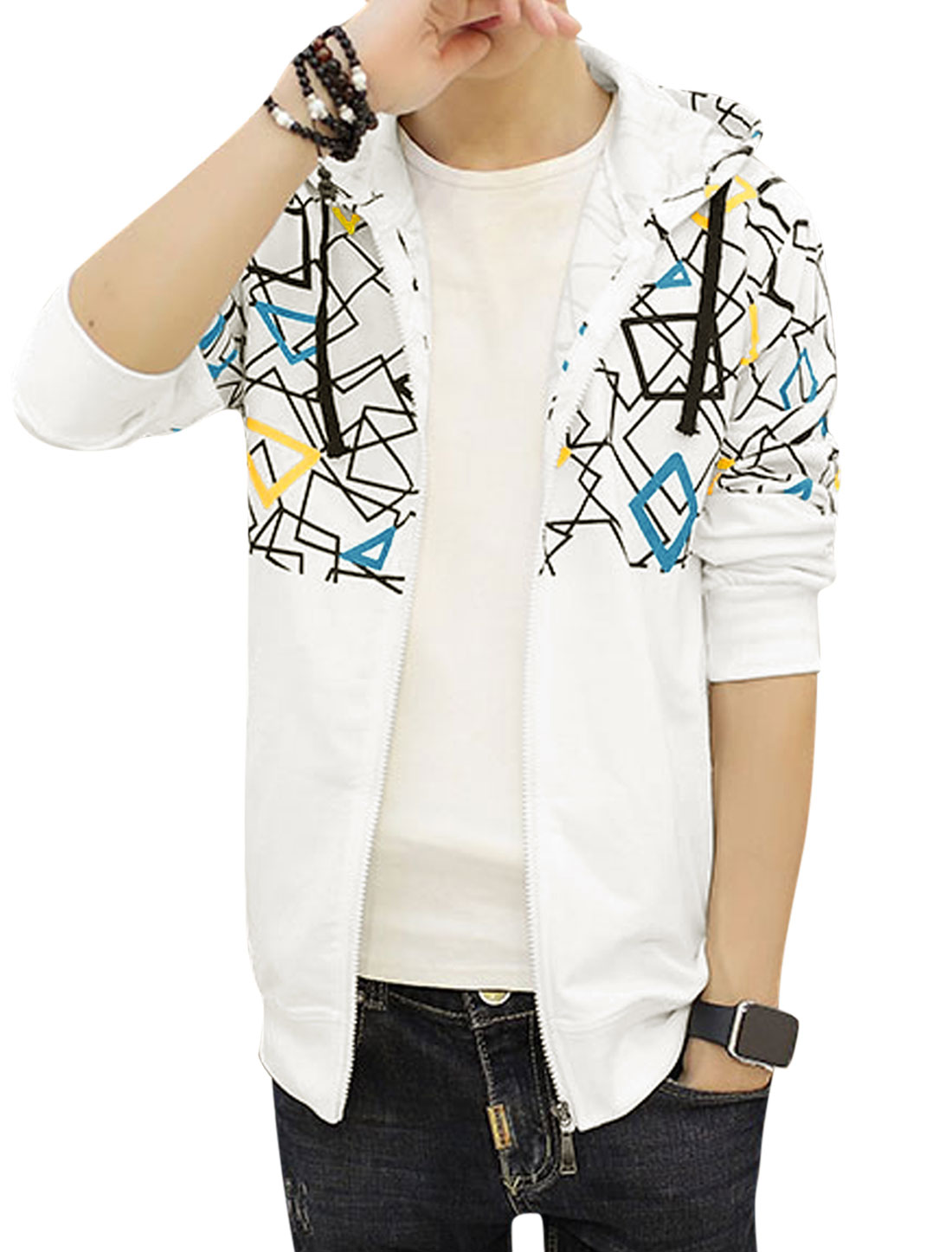Men Hooded Slim Fit Slant Pockets Geometric Jacket White S