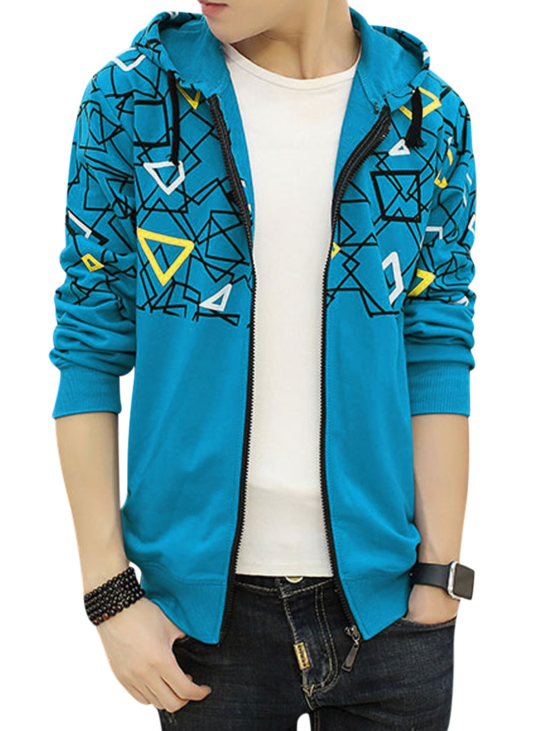 Men Hooded Slim Fit Slant Pockets Geometric Jacket Blue S