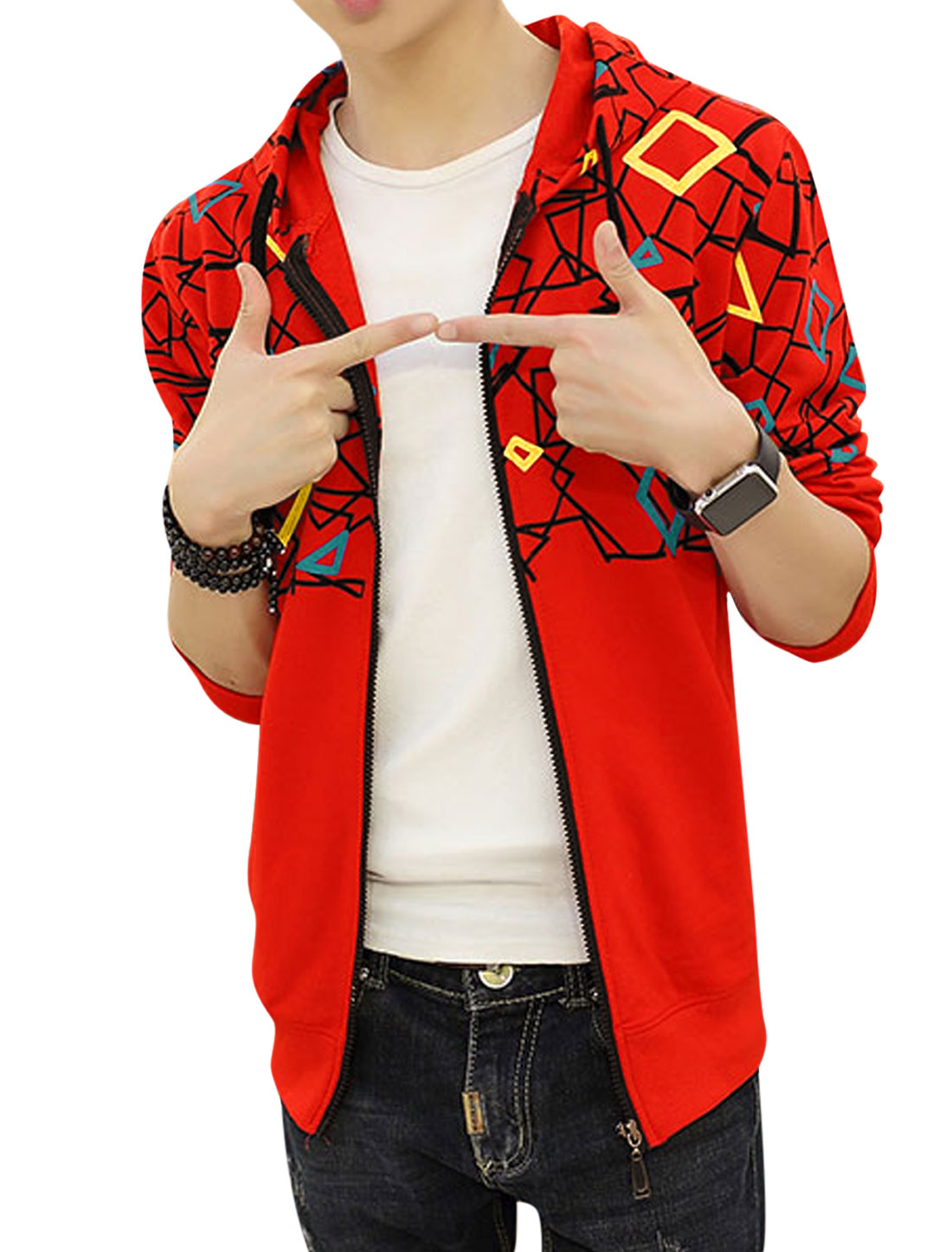 Men Hooded Slim Fit Slant Pockets Geometric Jacket Red S