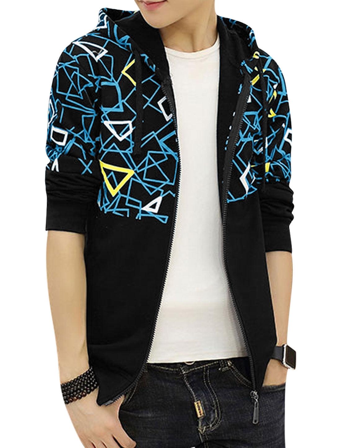 Men Hooded Slim Fit Slant Pockets Geometric Jacket Black S