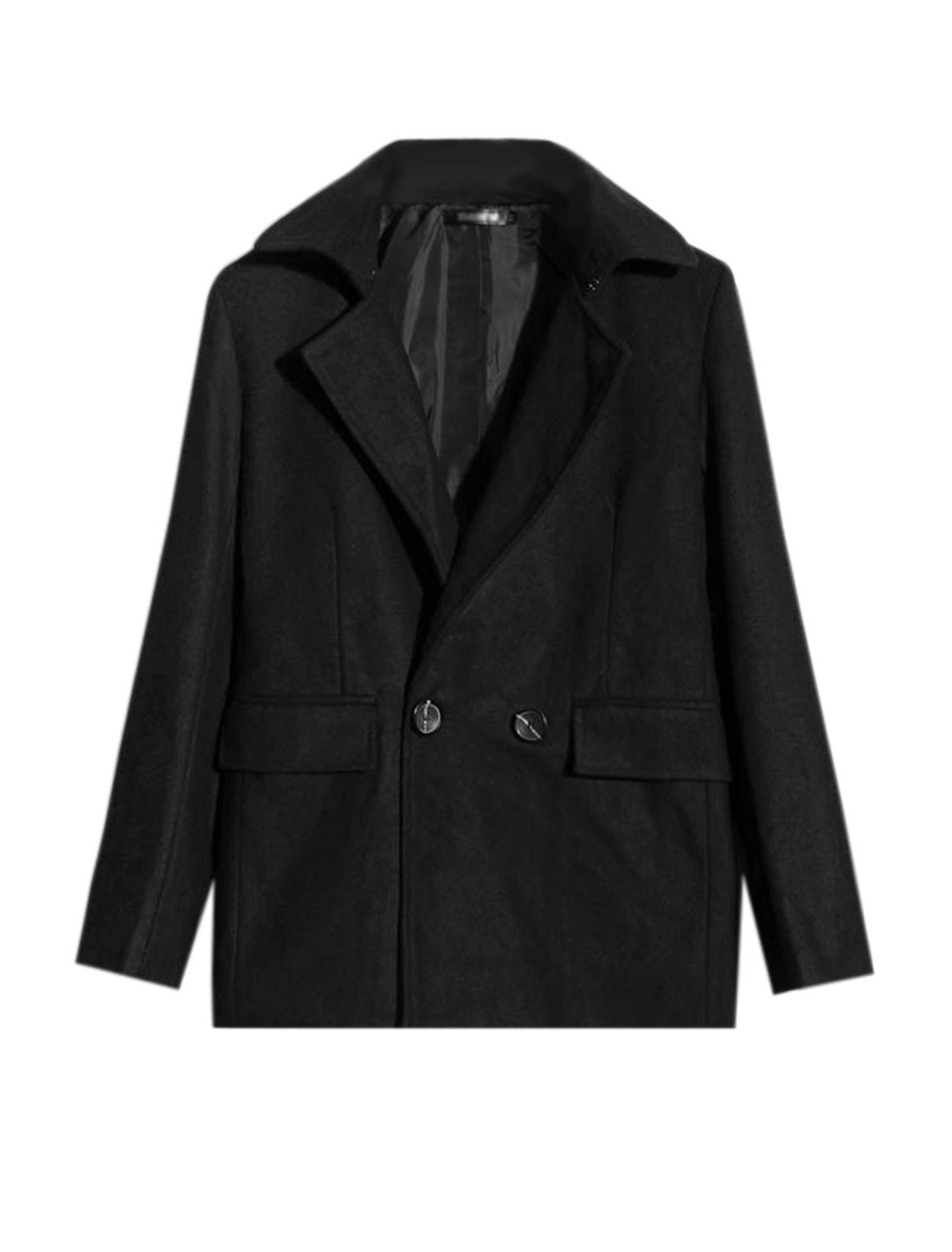 Men Convertible Collar Double Breasted Worsted Coat Black M
