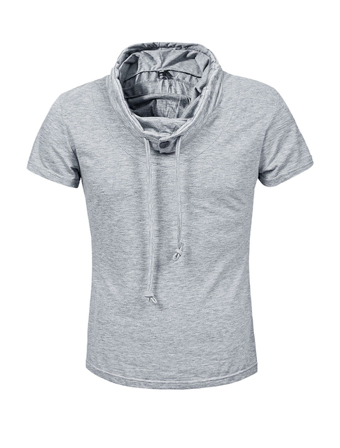 Men Buttoned Drawstring Cowl Neck Slim Fit Tee Shirt Gray S