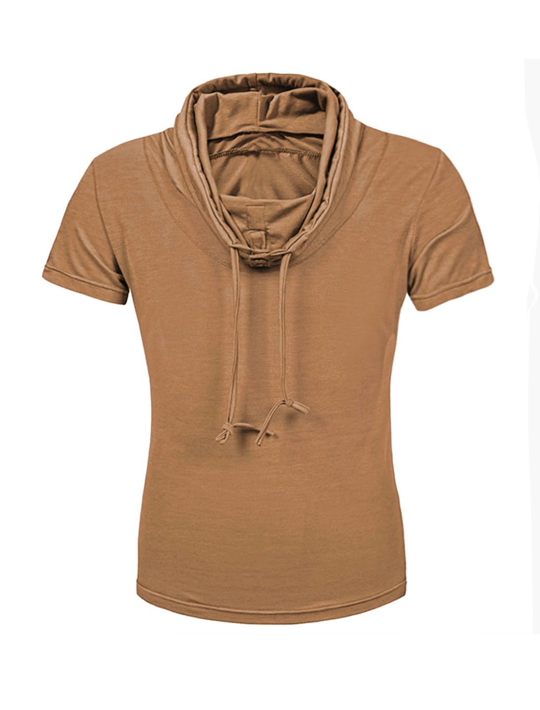 Men Buttoned Drawstring Cowl Neck Slim Fit Tee Shirt Brown S