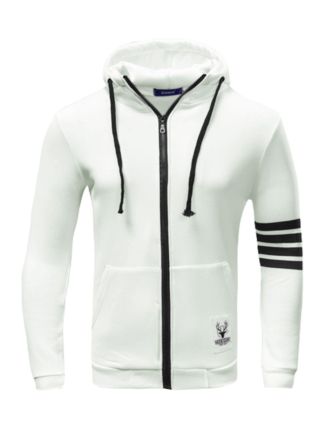 Man Kangaroo Pockets Zip Up Striped Drawstring Hoodie White M