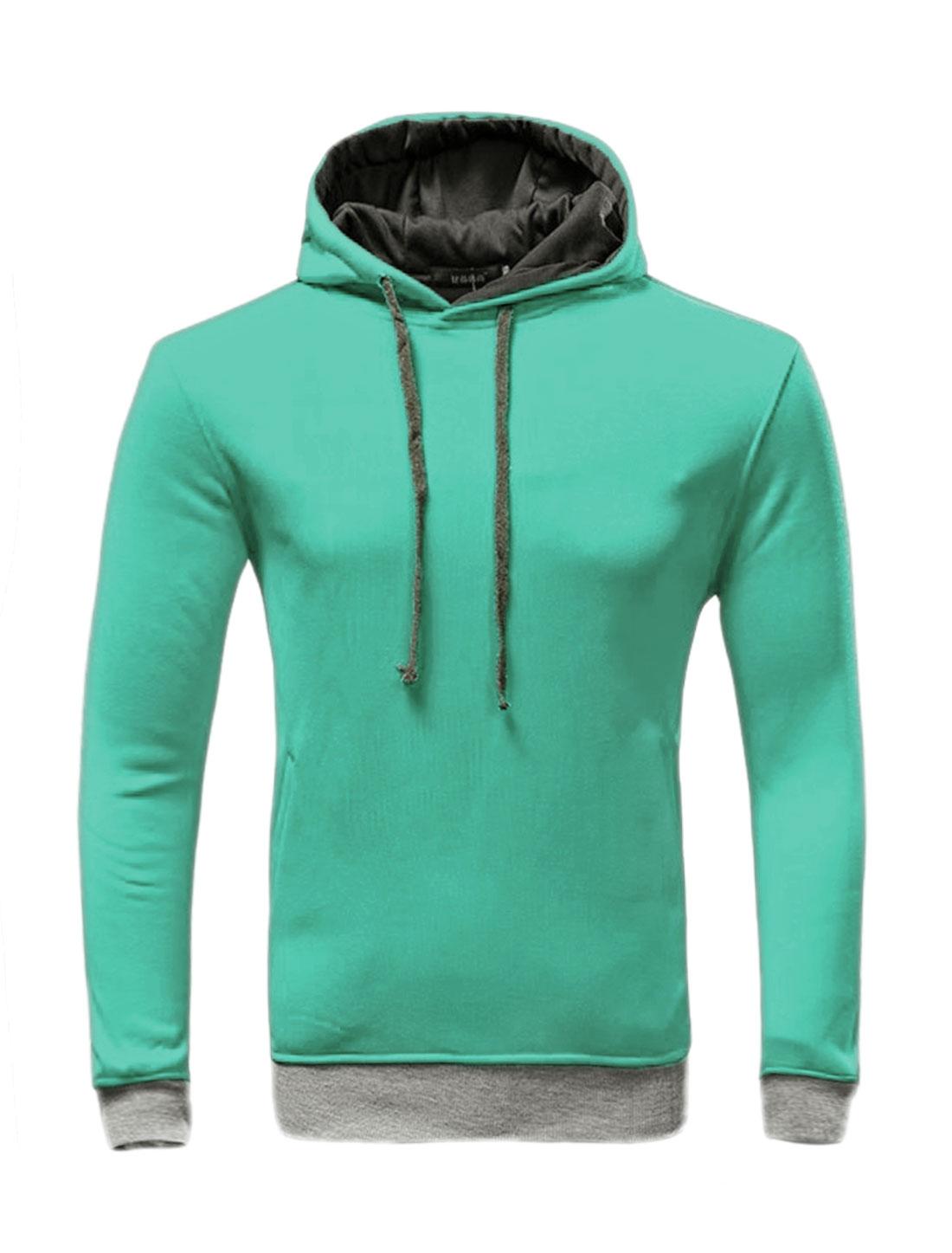 Men Slant Pockets Contrast Color Drawstring Slim Fit Hoodie Green M
