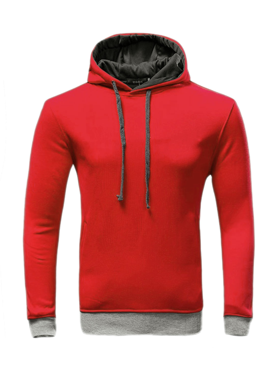 Men Slant Pockets Contrast Color Drawstring Slim Fit Hoodie Red M