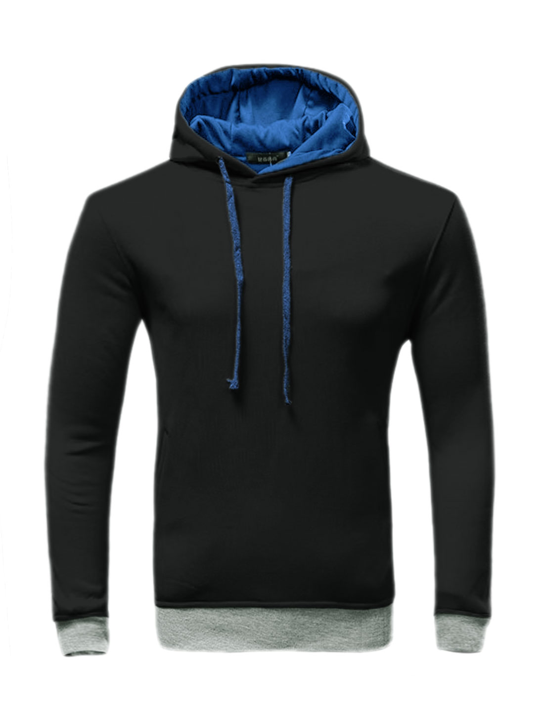 Men Slant Pockets Contrast Color Drawstring Slim Fit Hoodie Black M