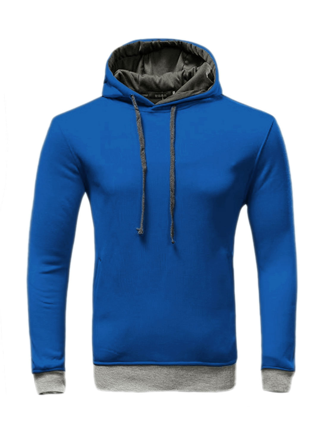 Men Slant Pockets Contrast Color Drawstring Slim Fit Hoodie Blue Gray M