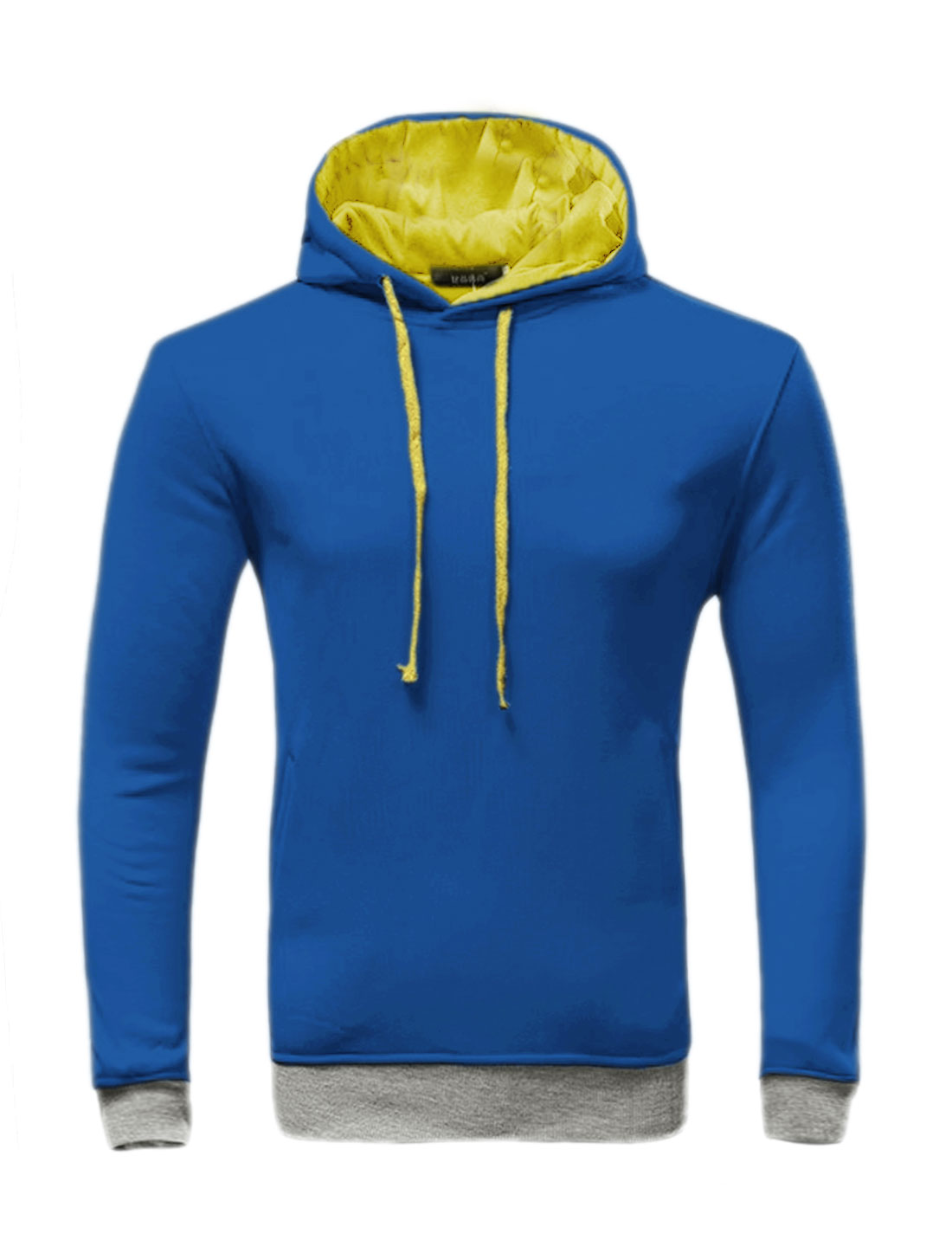 Men Slant Pockets Contrast Color Drawstring Slim Fit Hoodie Blue Yellow M