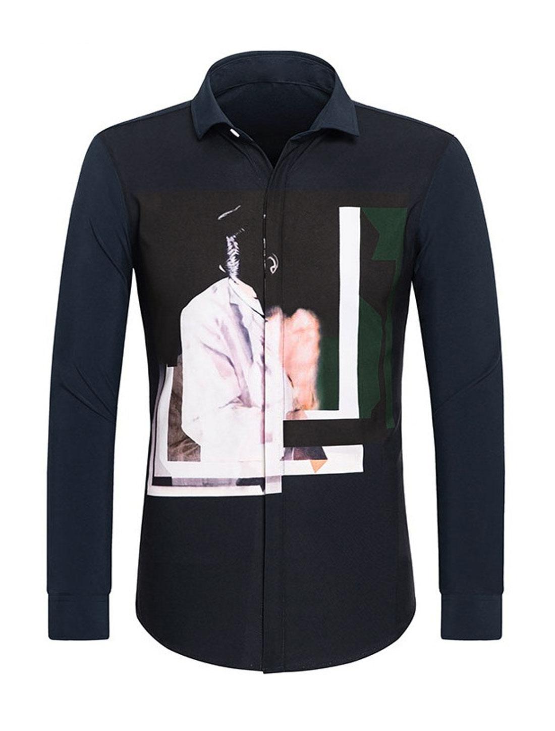 Men Point Collar Hidden Placket Novelty Slim Fit Shirt Blue S
