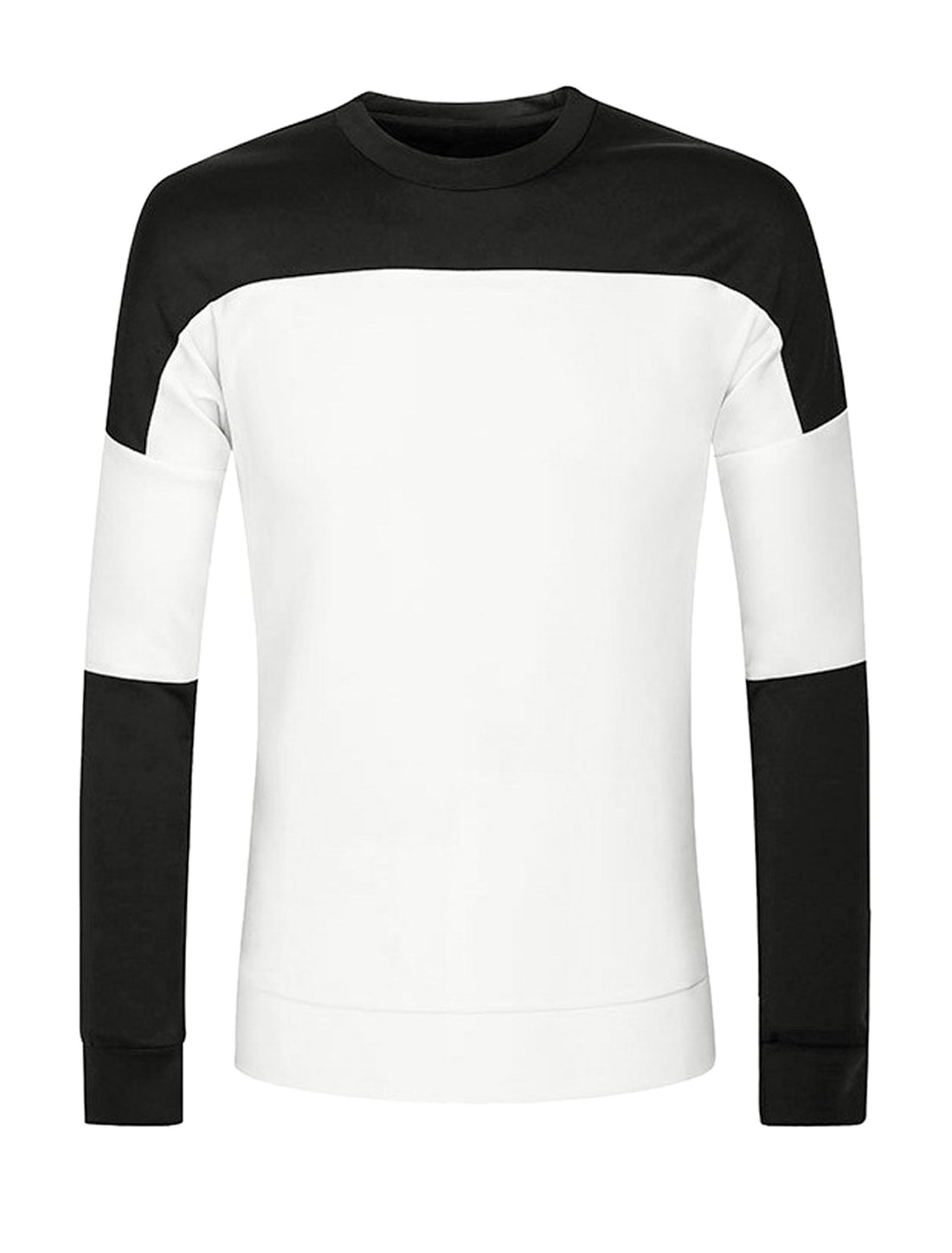 Men Crew Neck Long Sleeves Color Block Slim Fit Sweatshirt White M