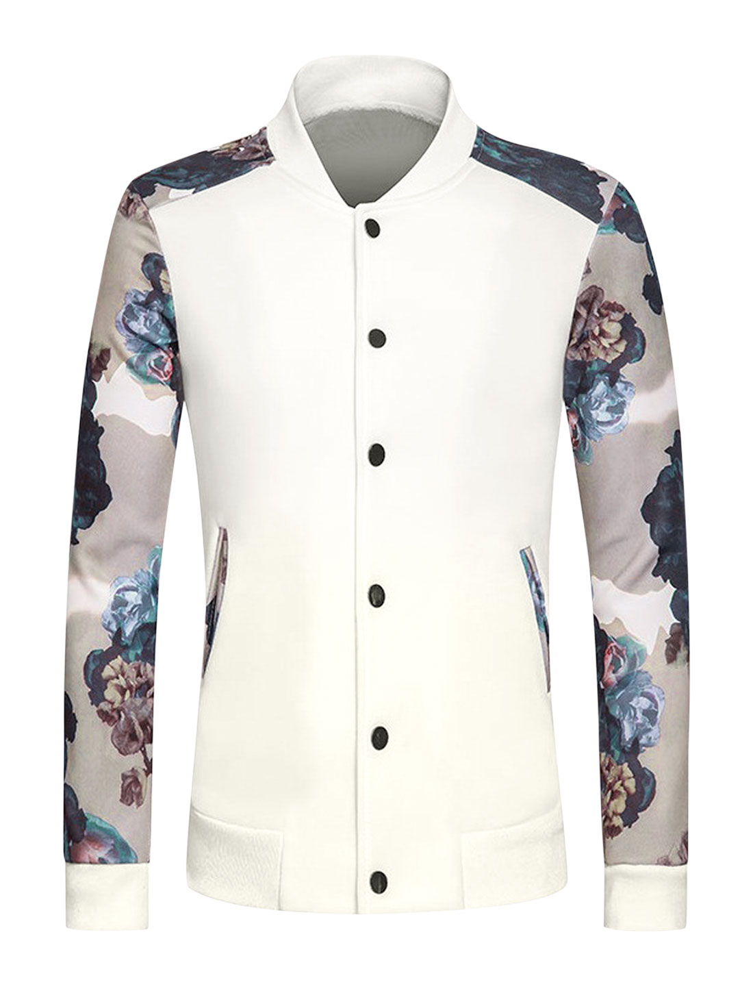 Men Stand Collar Snap Button Slim Fit Floral Jacket White M