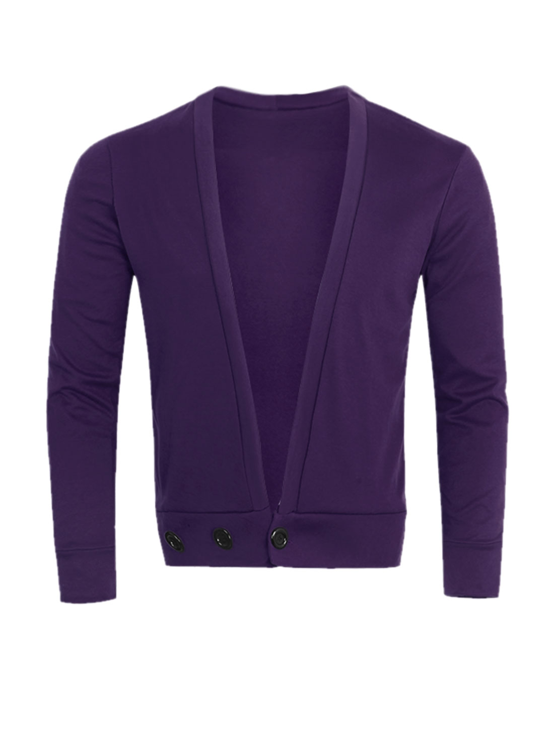 Men Deep V Neck One Button Closed Slim Fit Cardigan Purple S
