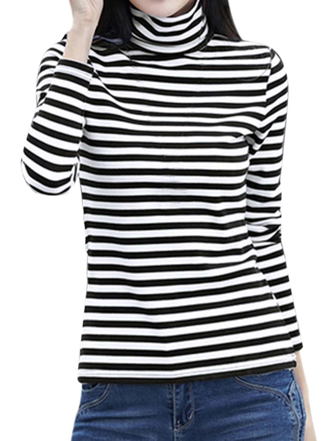 Women Turtle Neck Long Sleeves Stripes Slim Fit Top White S