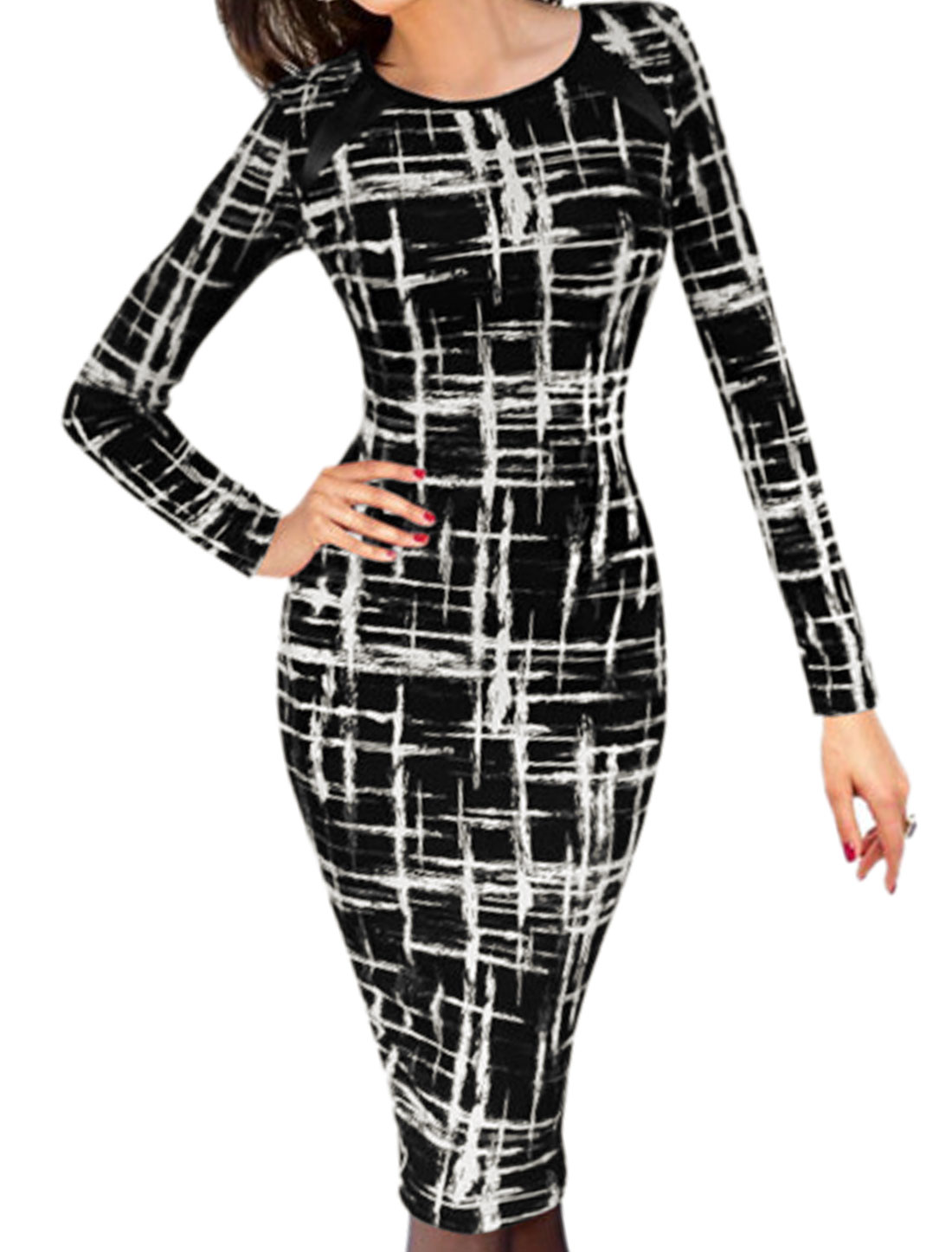 Women Round Neck Long Sleeves Novelty Wiggle Dress Black L