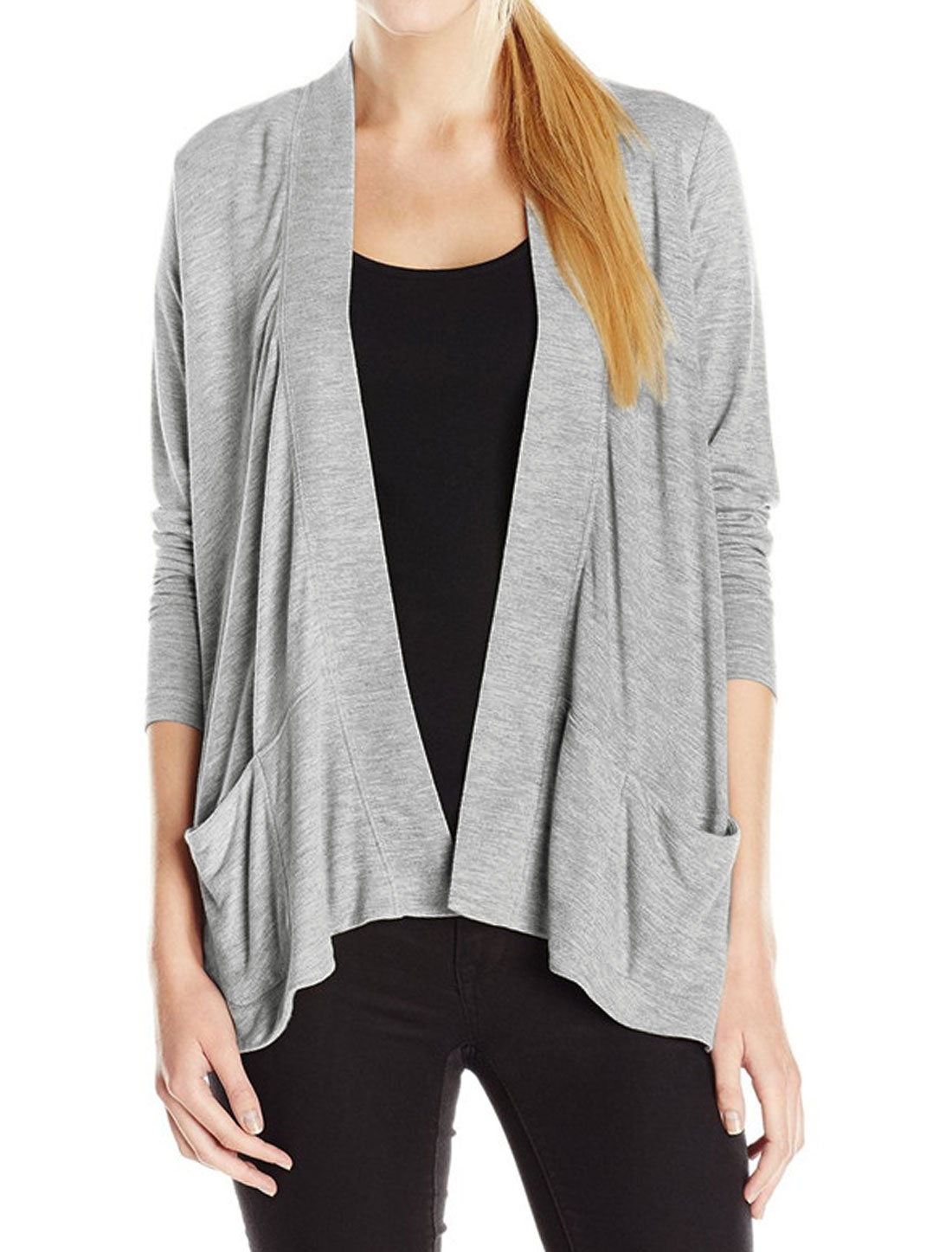 Women Long Sleeves Two Pockets Front Opening Cardigan Gray XS