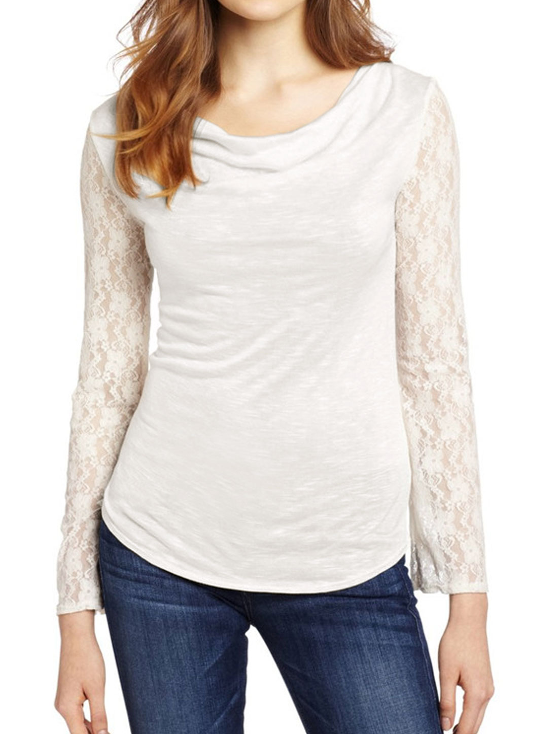 Women Cowl Neck Floral Lace Long Sleeves Slim Fit Top White M