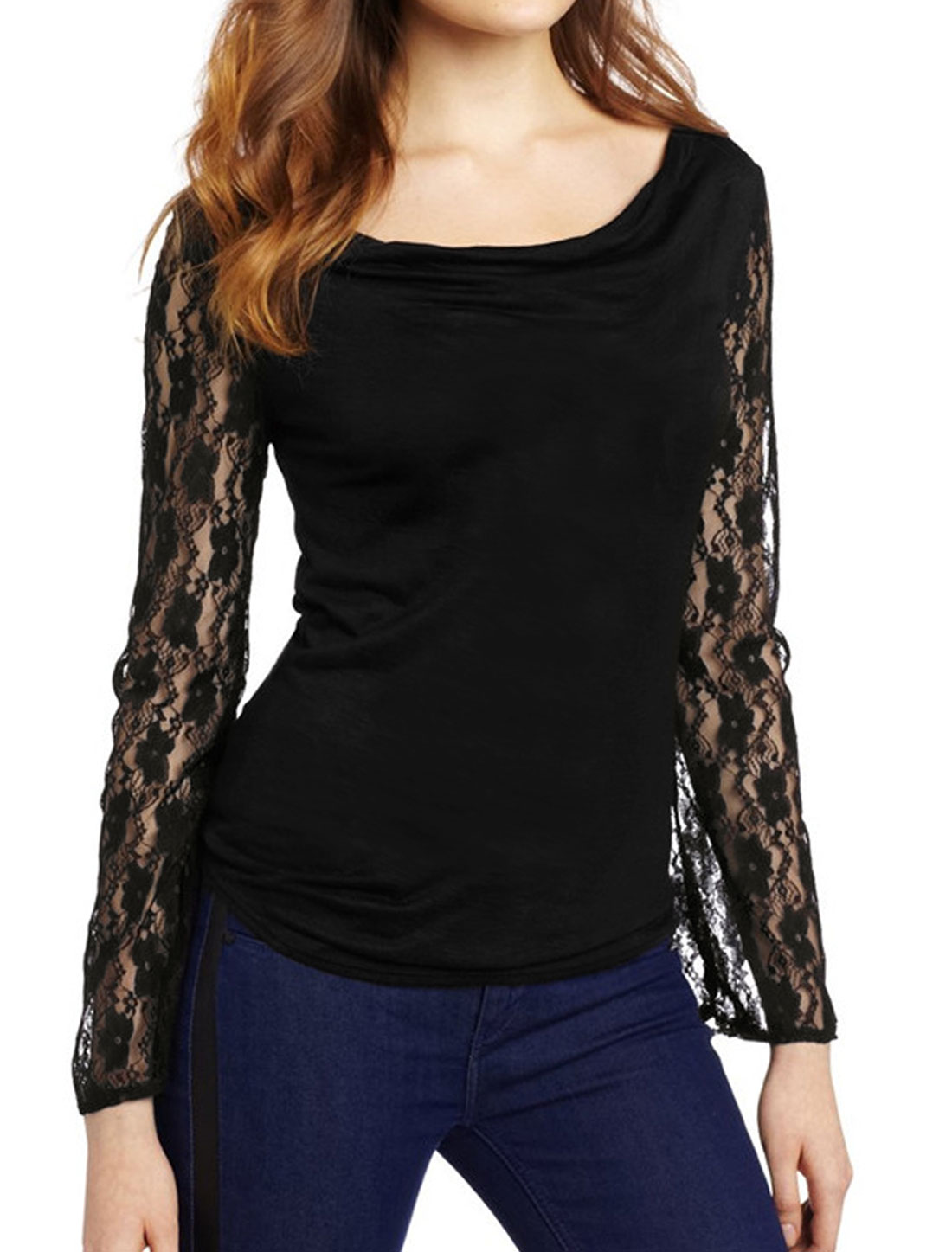 Women Cowl Neck Floral Lace Long Sleeves Slim Fit Top Black M