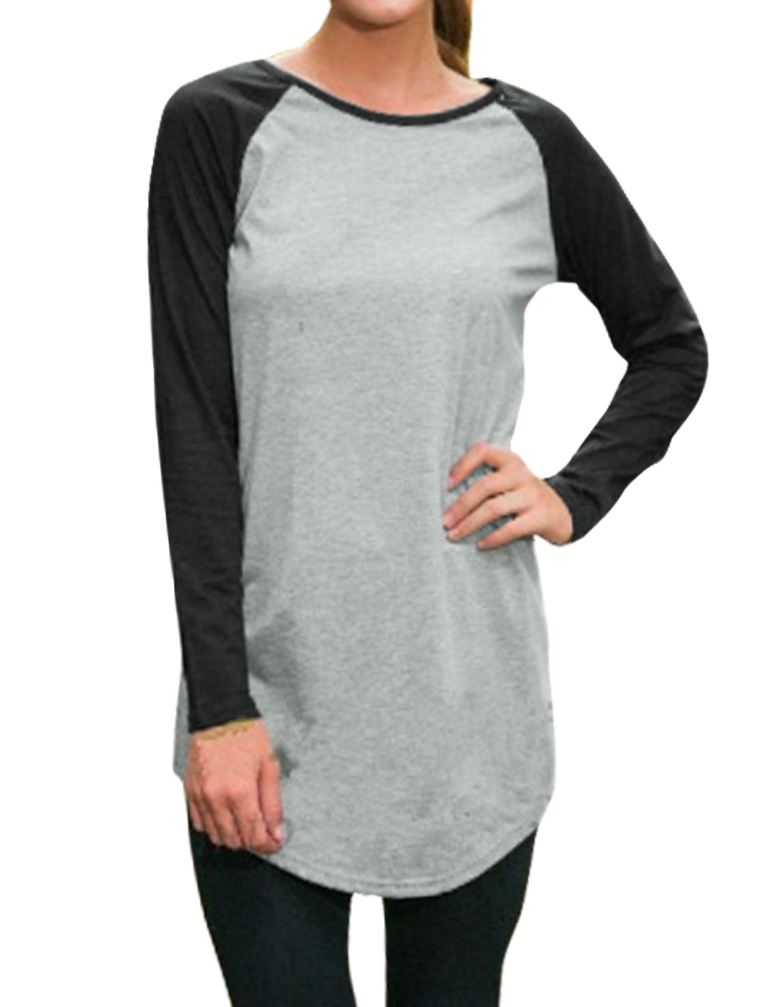 Women Raglan Sleeves Contrast Color Round Hem Loose Tunic Tee Shirt Gray S