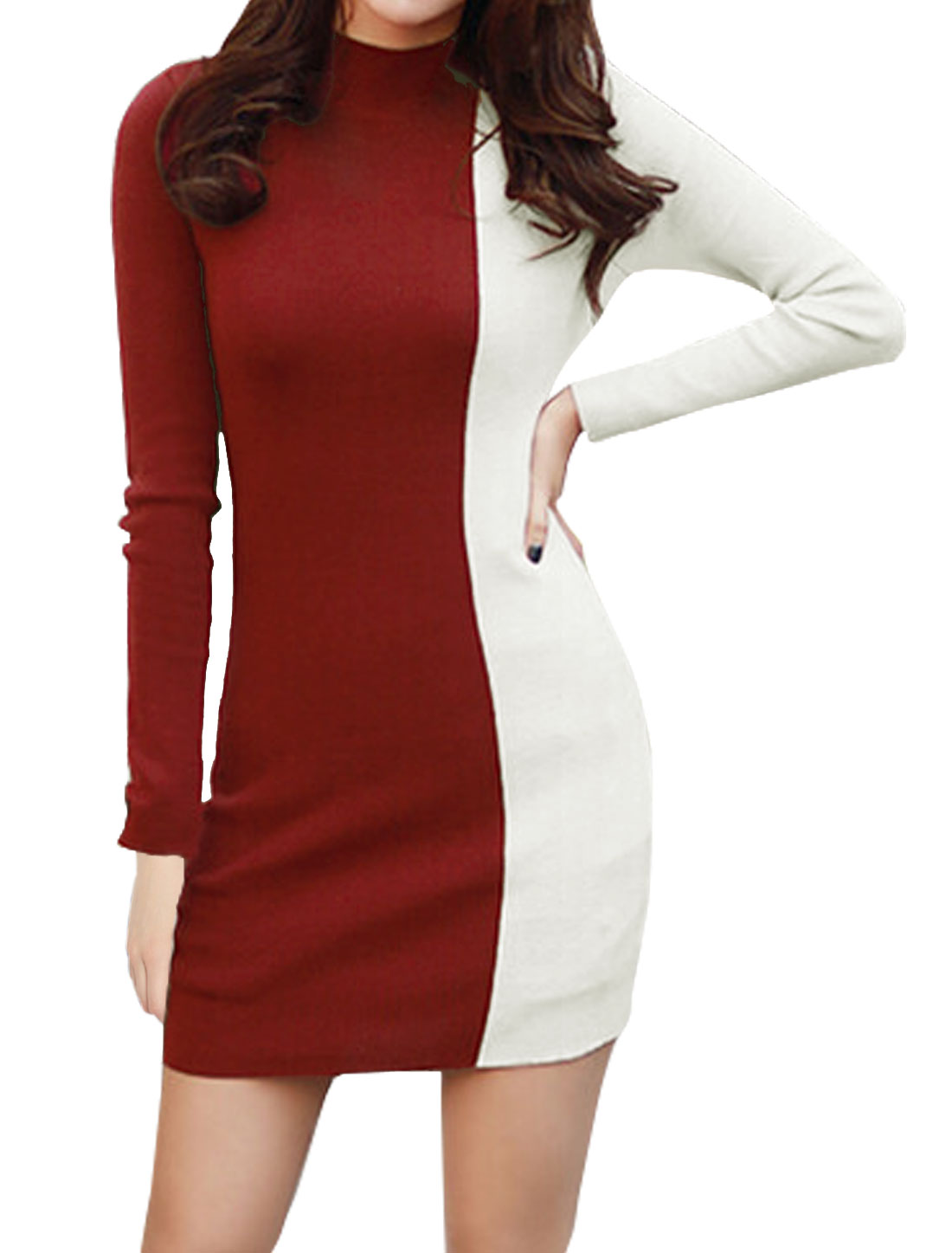 Women Mock Neck Color Block Ribbed Mini Bodycon Dress Red M
