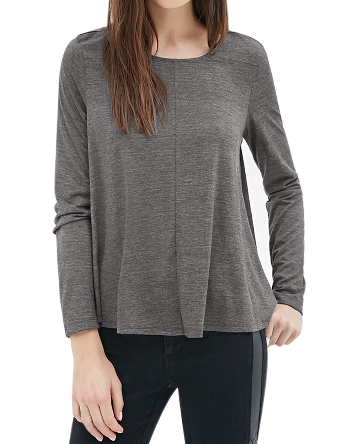 Women Round Neck Long Sleeves Loose Tee Shirt Gray XS