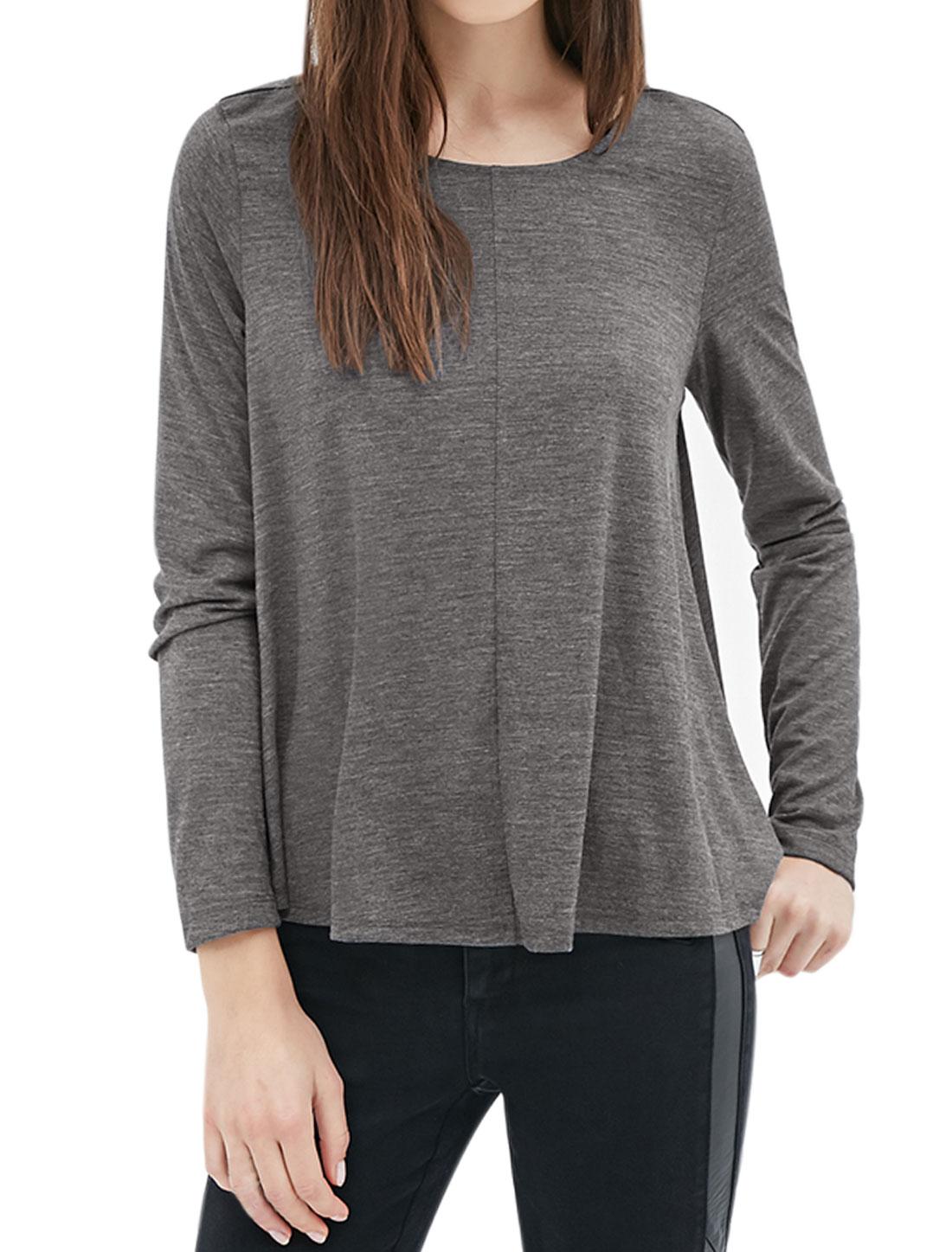Women Round Neck Long Sleeves Loose Tee Shirt Gray XS