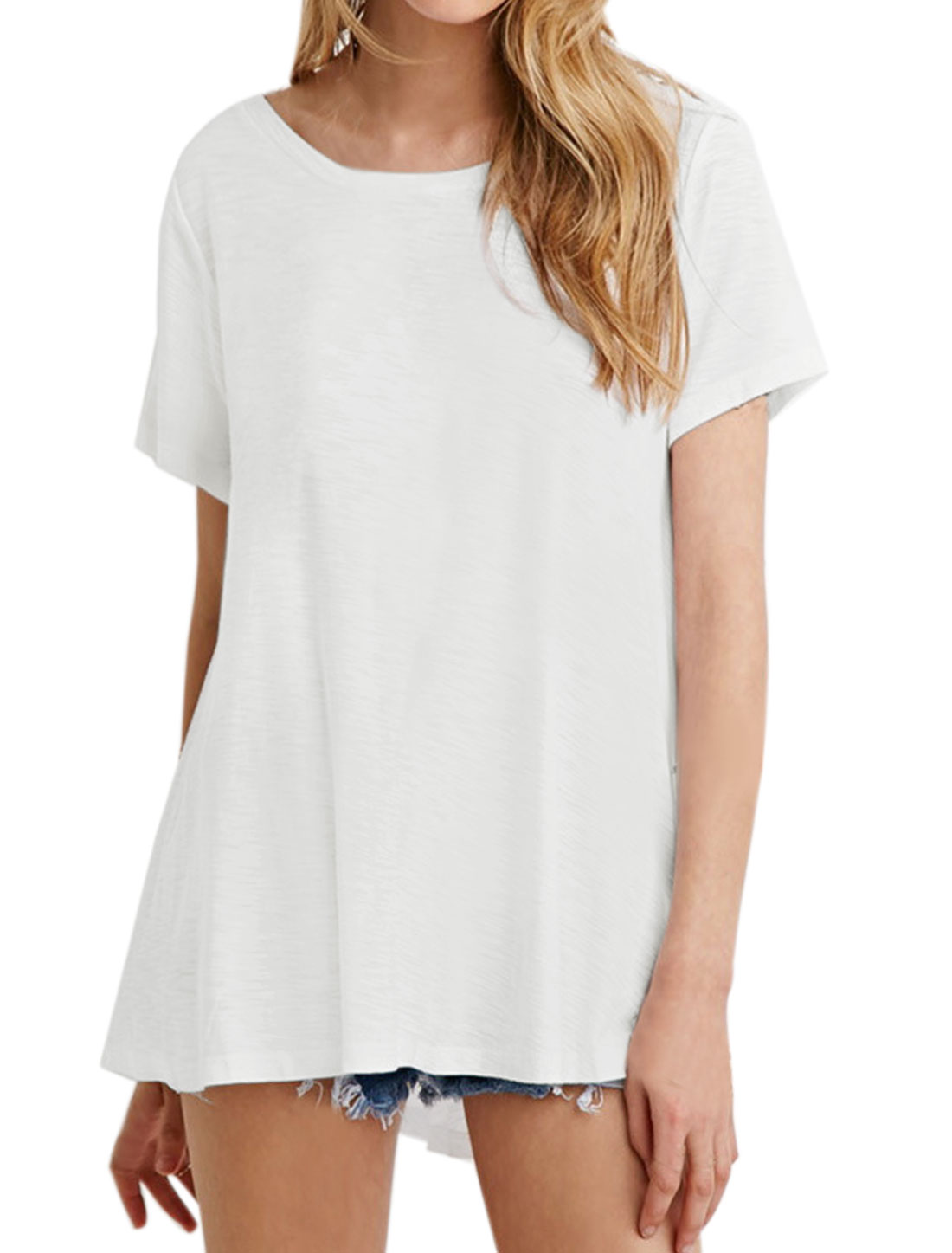Women Round Neck Short Sleeves Loose Tee White XS