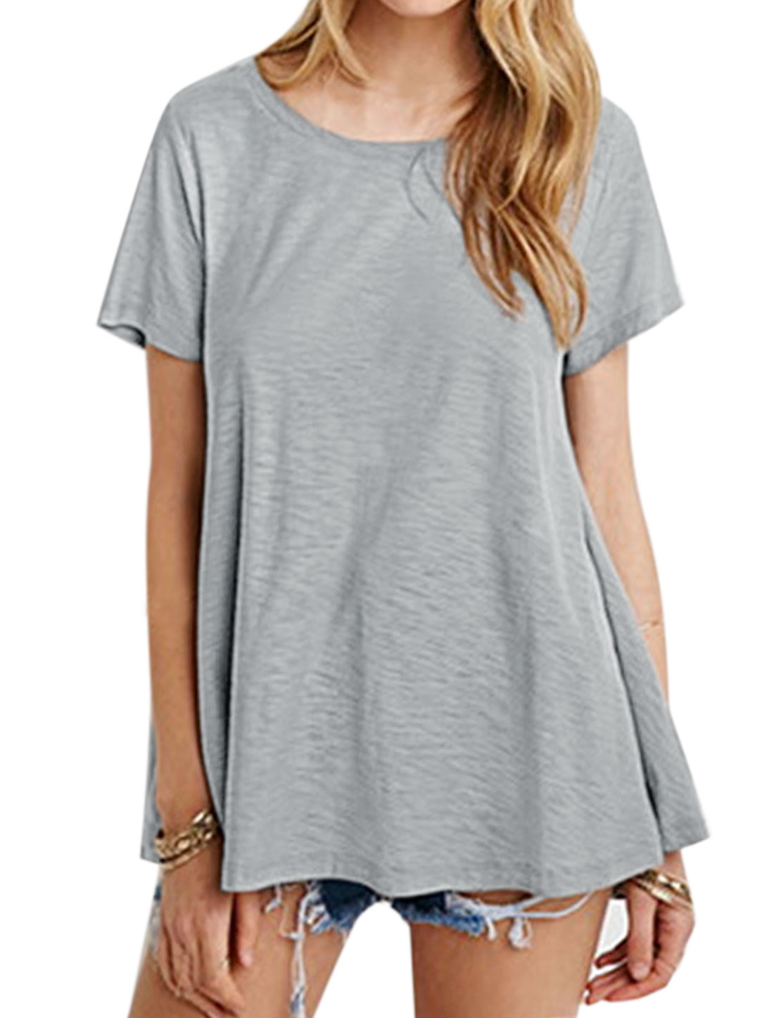 Women Round Neck Short Sleeves Loose Tee Gray XS