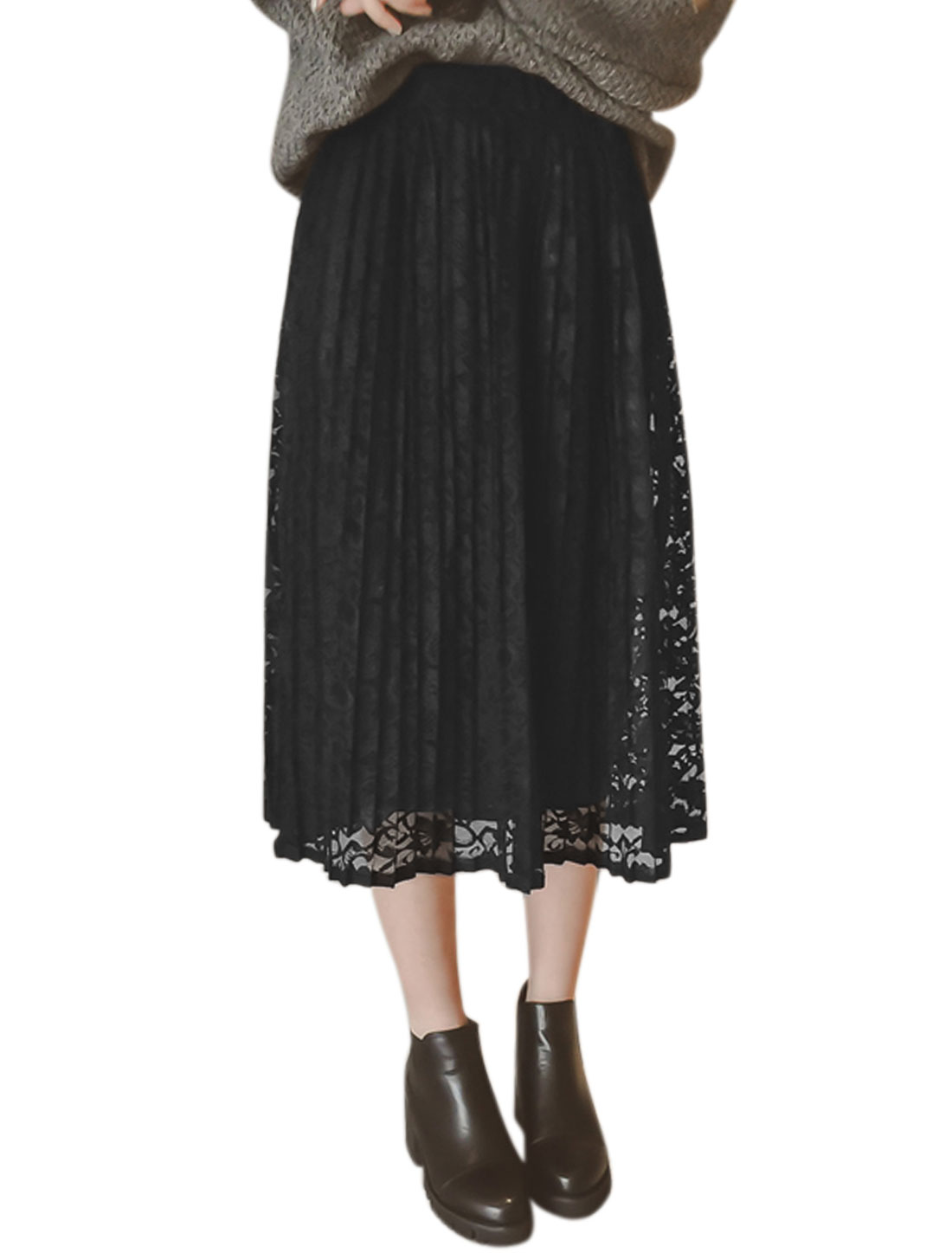 Women Elastic Waist Floral Lace Pleated Skirt Black XS
