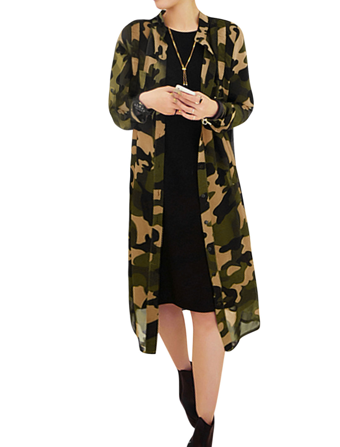 Women Semi Sheer Camouflage Chiffon Tunic Cardigan Green XS