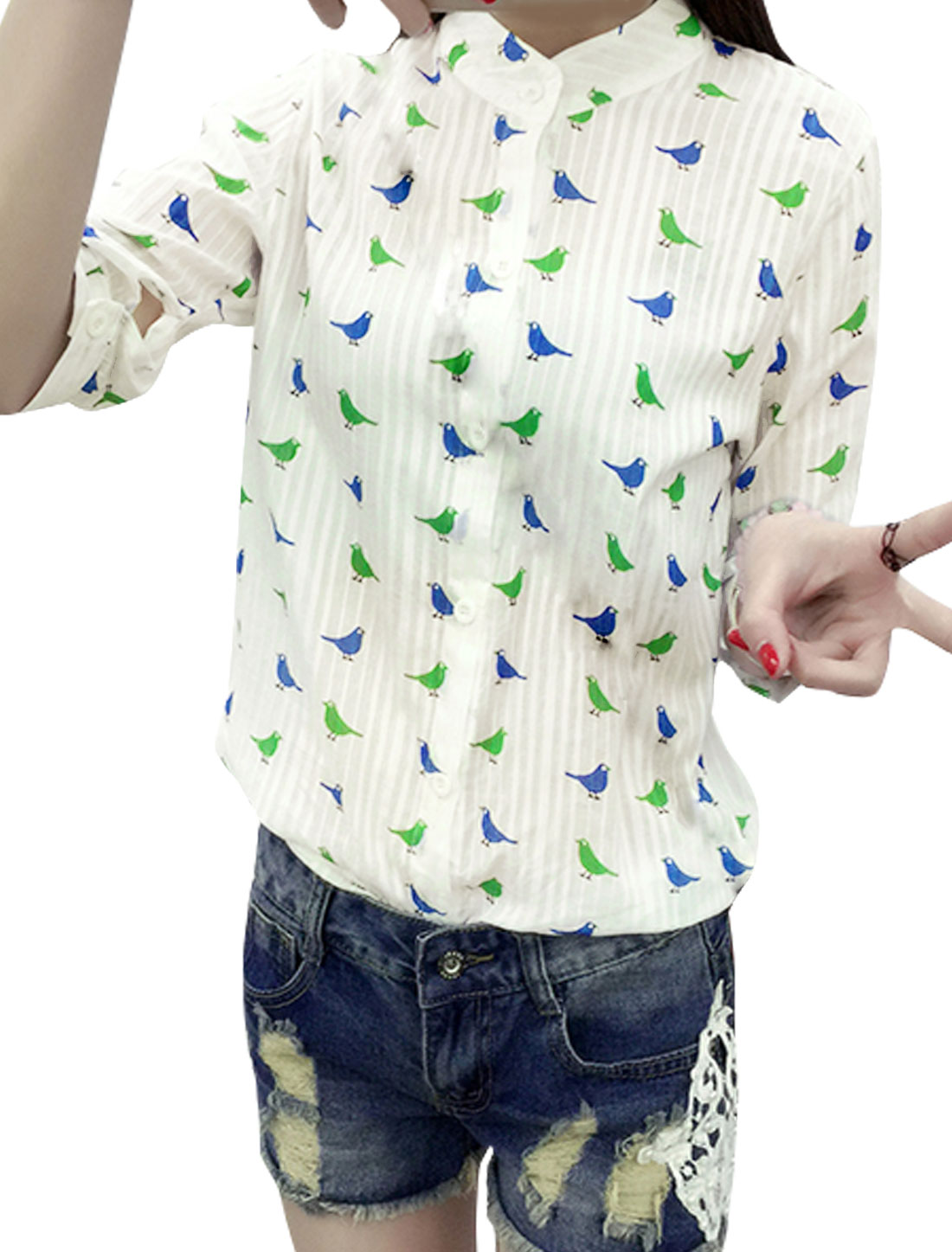 Women 3/4 Sleeves Semi Sheer Stripes Design Birds Casual Shirt Green XS