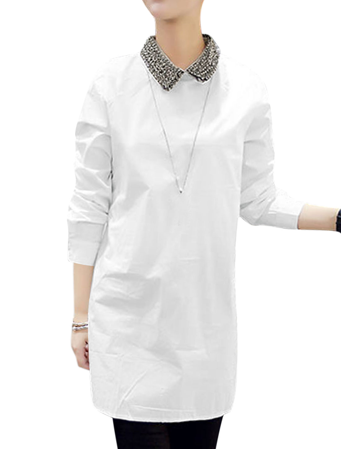 Women Beads Decor Collar Split Sides Tunic Blouse White XS