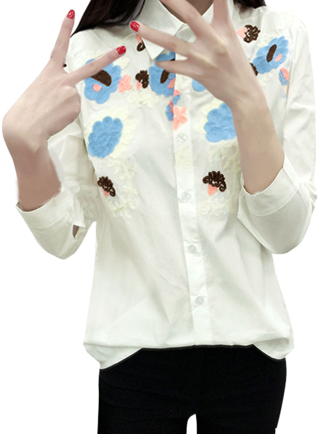 Women Collared Single Breasted Flower Embroidered Blouse White S