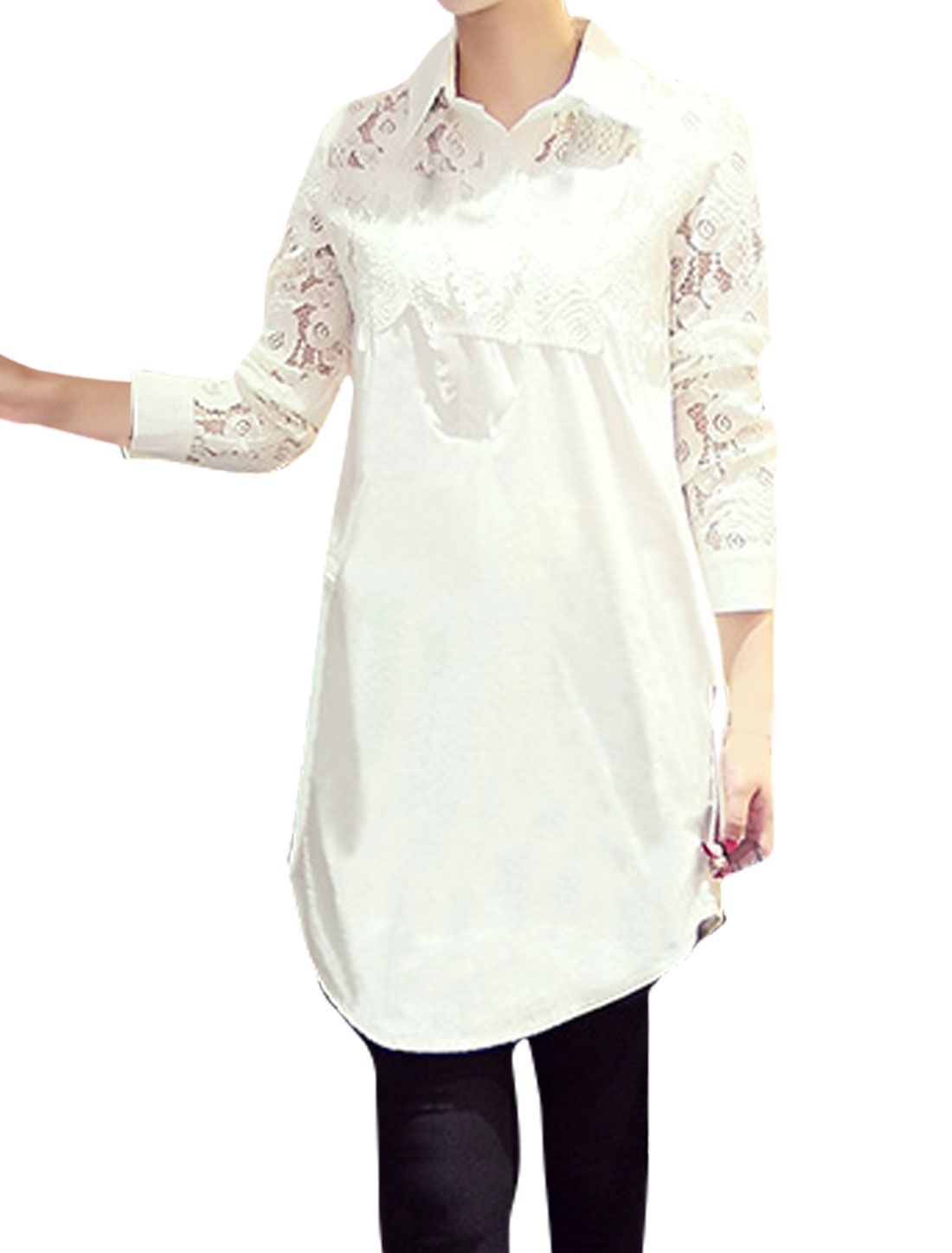 Women Collared Lace Panel Round Hem Tunic Blouse White XS