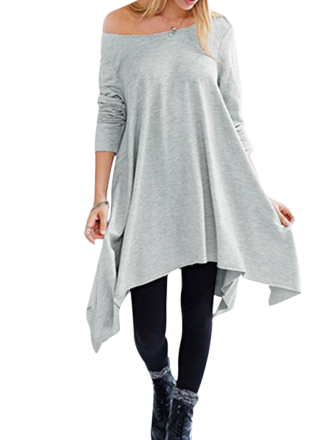 Women Long Sleeves Boat Neck Irregular Hem Loose Tunic Dress Gray XS