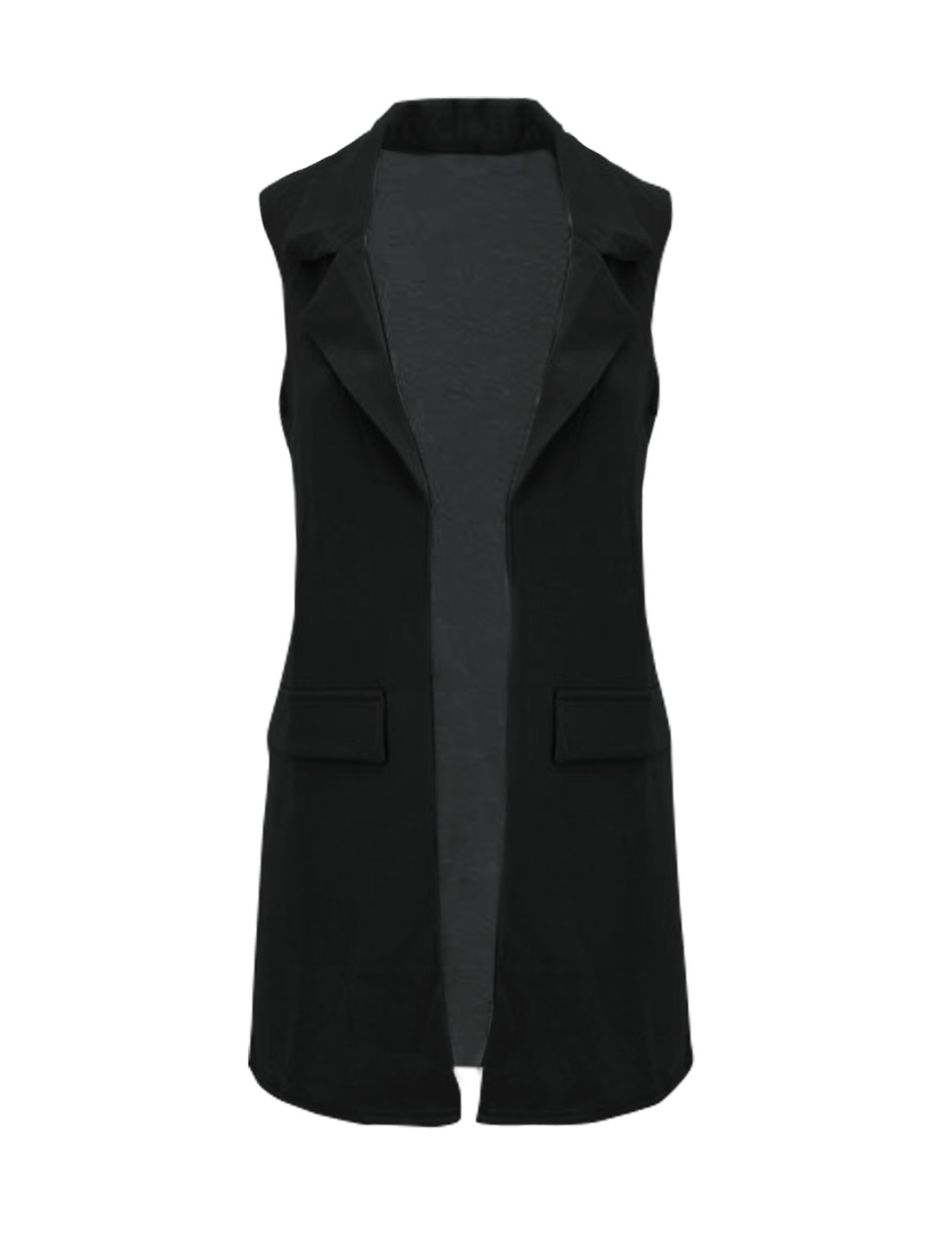 Women Turn Down Collar Mock Pockets Open Front Tunic Vest Black S