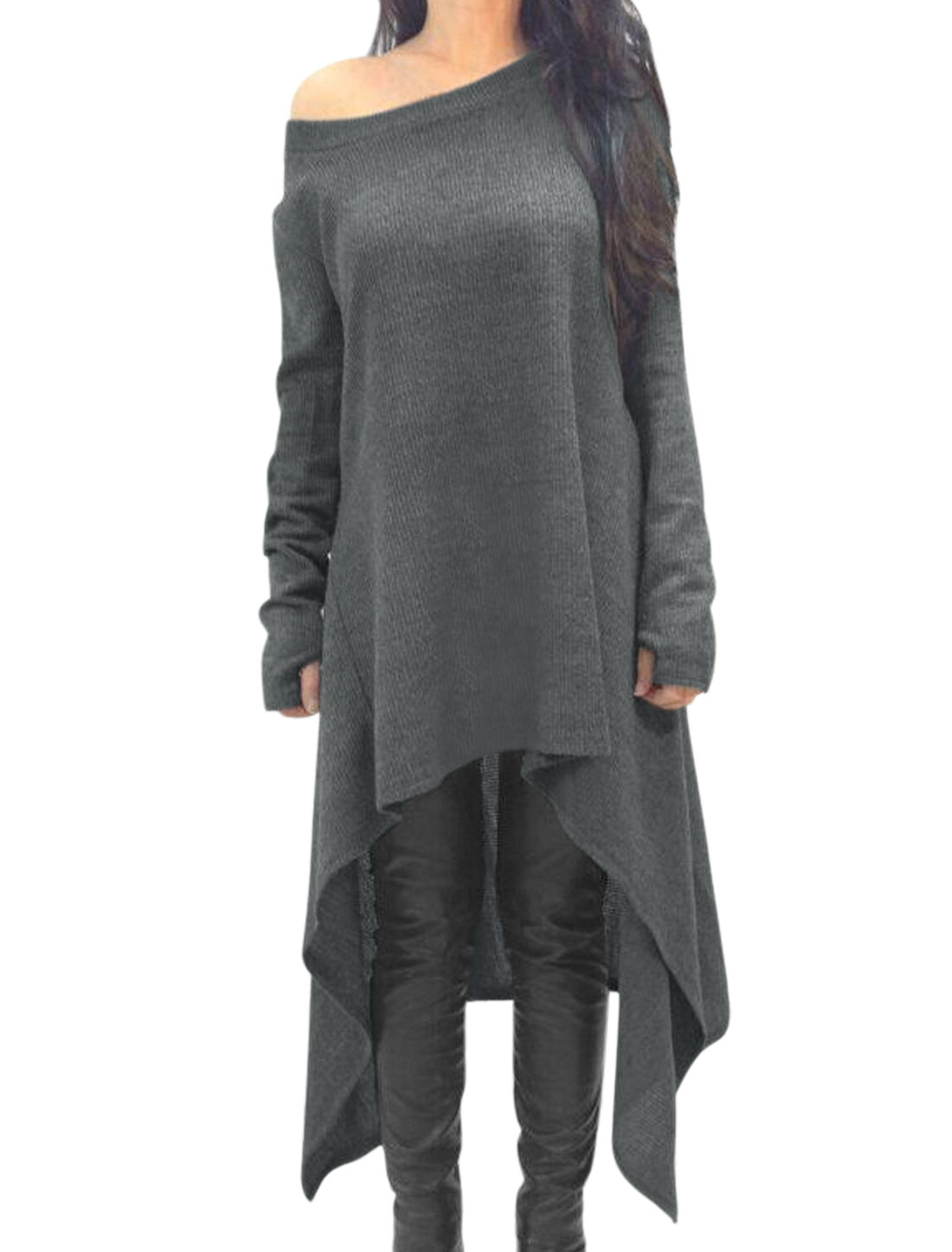 Women Hole Cuffs Boat Neck Asymmetric Hem Loose Tunic Top Gray M