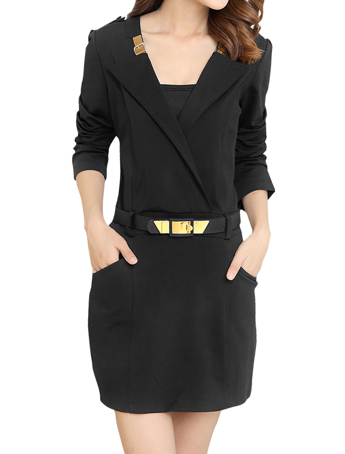 Women Turn Down Collar Wrap Design Waist Belt Sheath Dress Black M