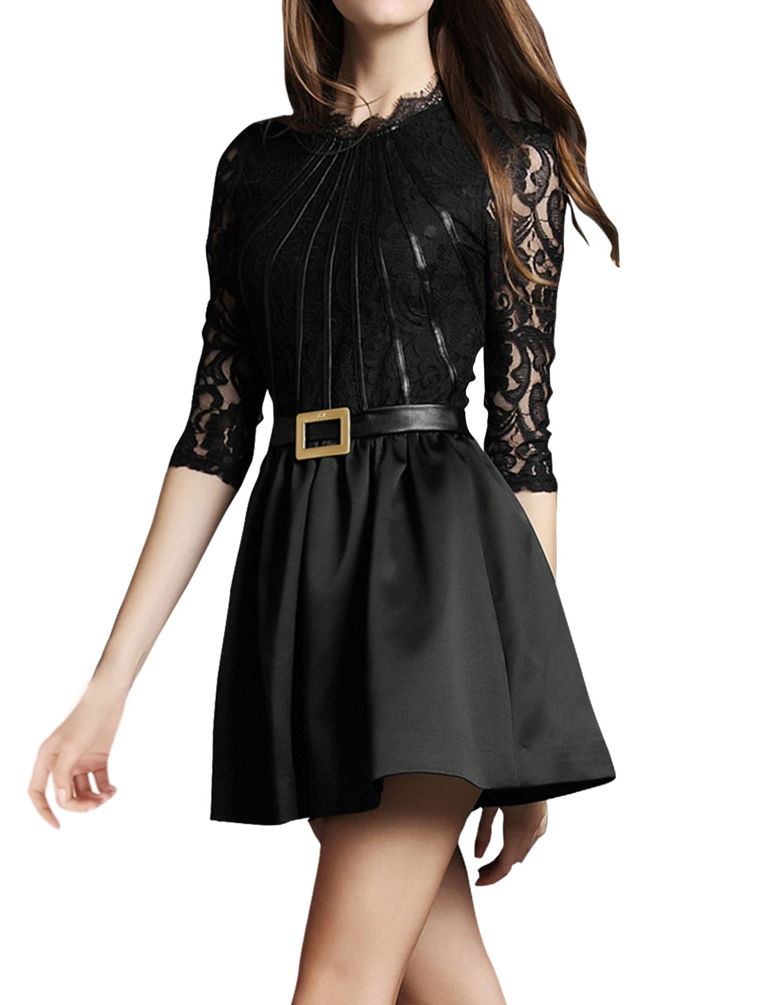 Women Semi Sheer Sleeves PU Lace Panel A Line Dress Black M
