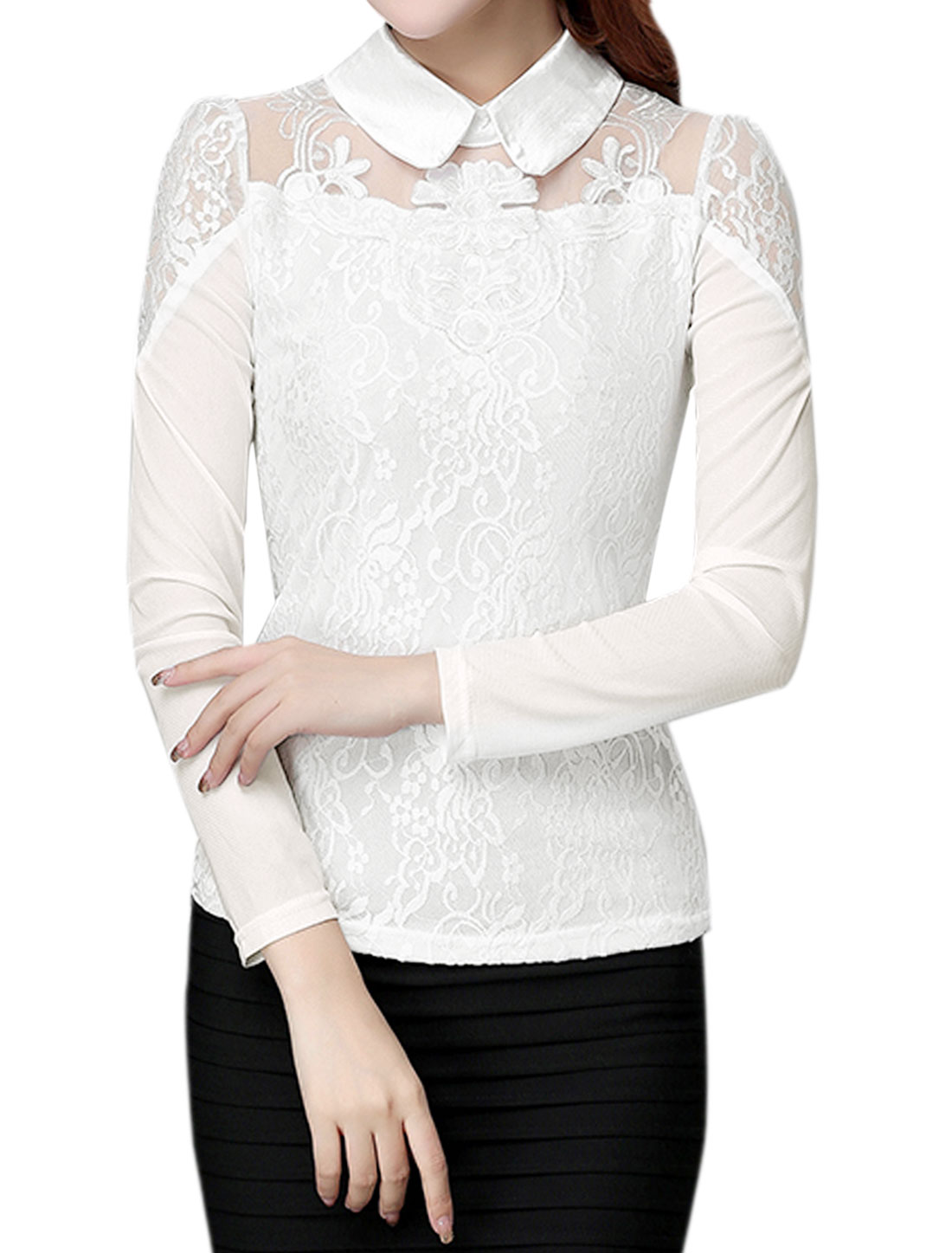 Women Collared Slim Fit Floral Lace Mesh Top White S