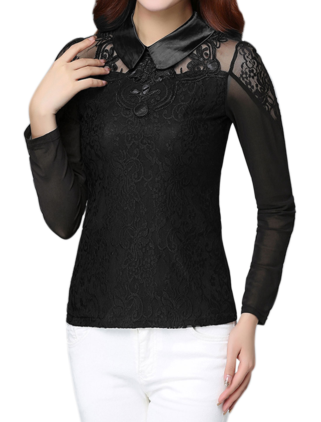 Women Collared Slim Fit Floral Lace Mesh Top Black S