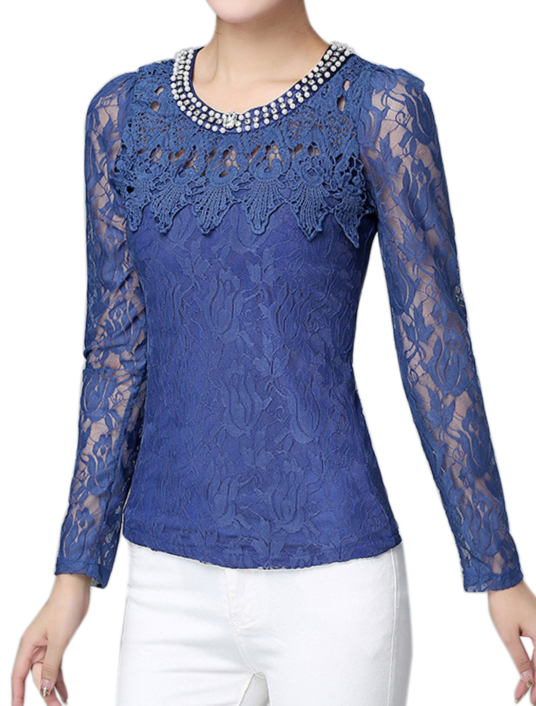 Women Beaded Rhinestone Slim Fit Floral Lace Top Blue M