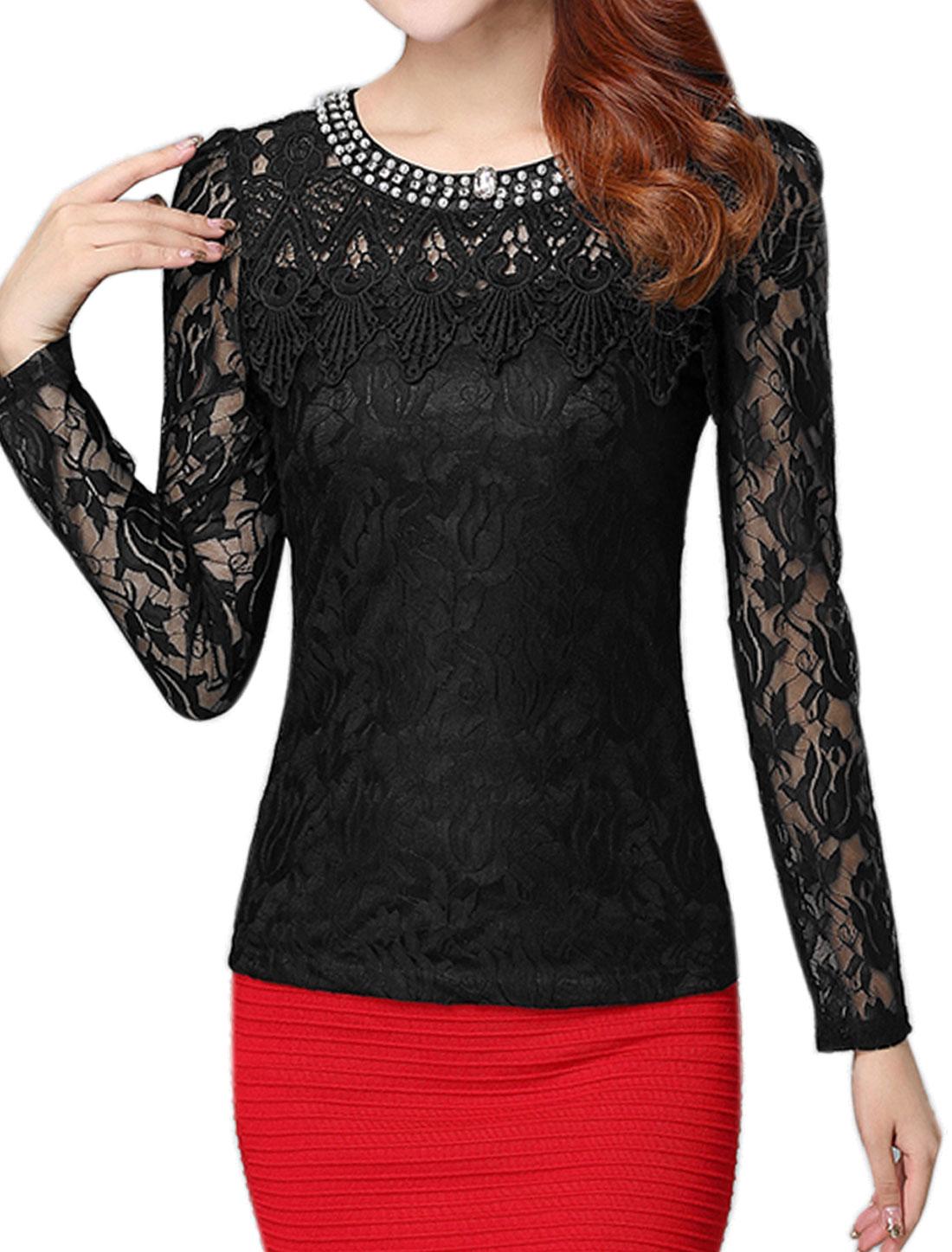Women Beaded Rhinestone Slim Fit Floral Lace Top Black M