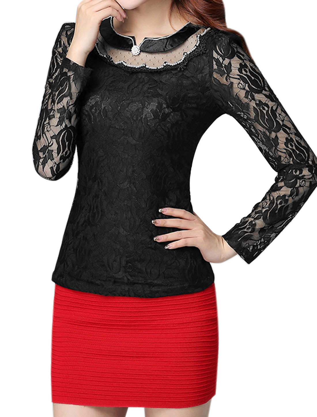 Women Beaded Rhinestone Slim Fit Floral Lace Top Black M