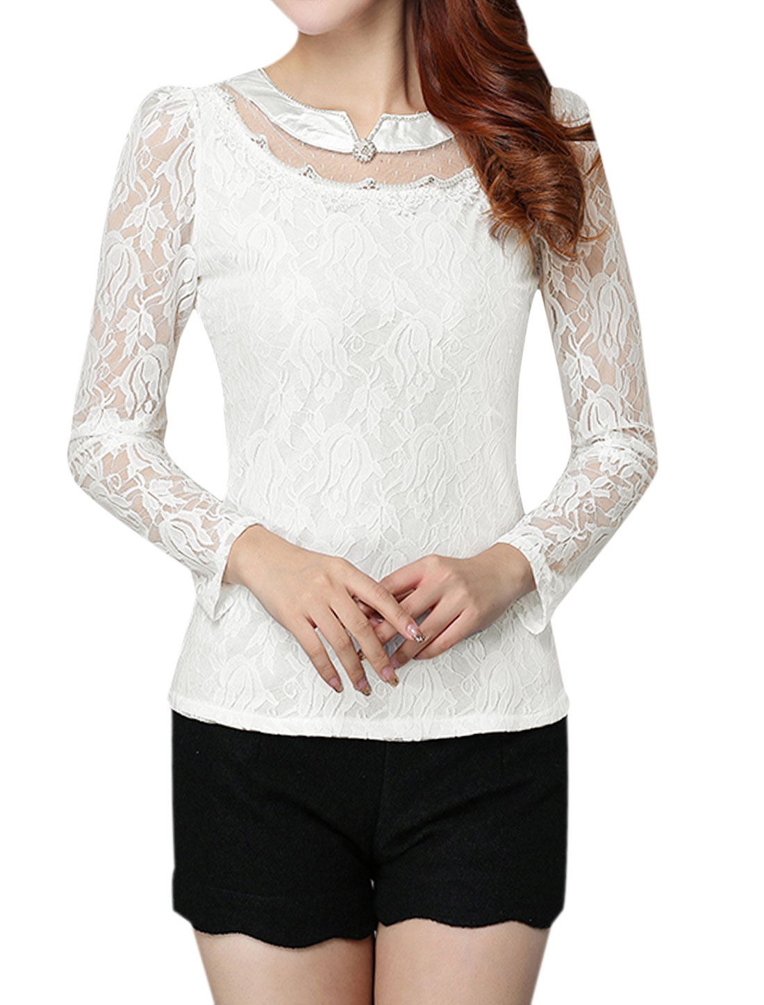 Women Beaded Rhinestone Slim Fit Floral Lace Top White M