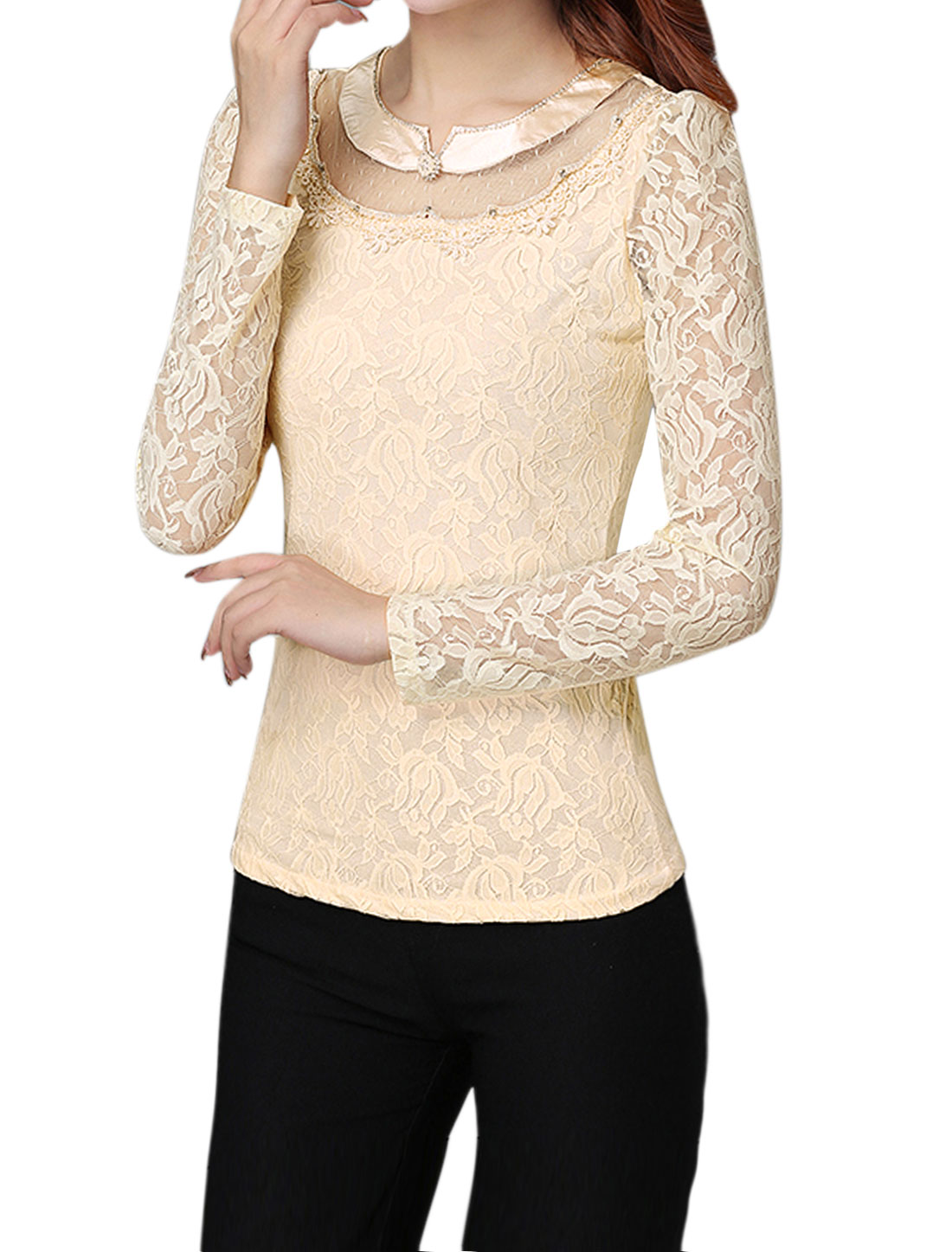 Women Beaded Rhinestone Slim Fit Floral Lace Top Beige M