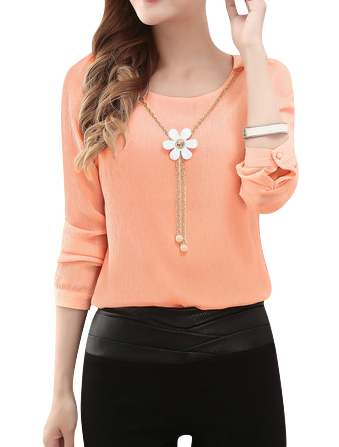 Women Long Sleeves Detachable Flower Necklace Chiffon Blouse Pink M