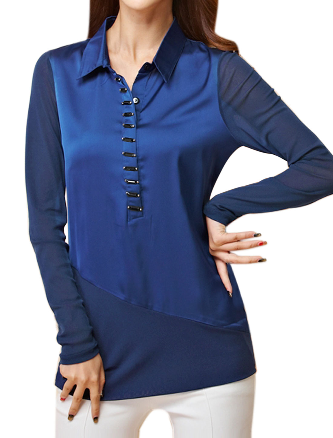 Women Beaded Button Closure Slim Fit Mesh Tunic Top Blue M