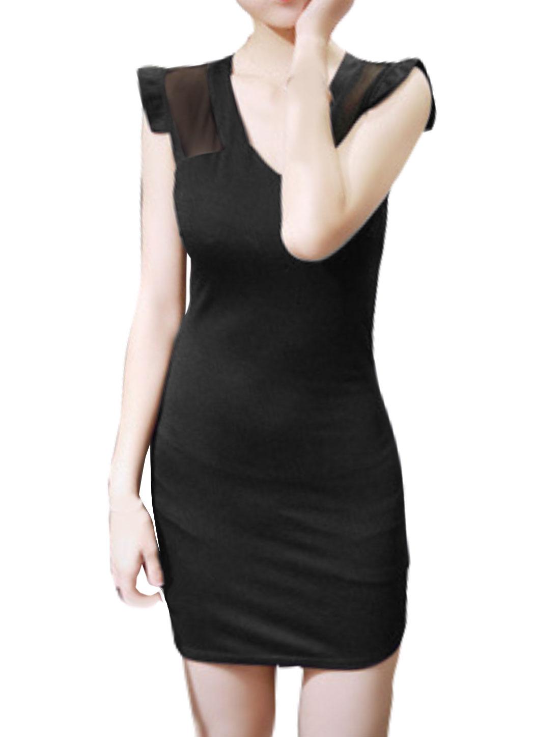 Women V Neck Semi Sheer Upper Paneled Irregular Hem Mini Dress Black XS