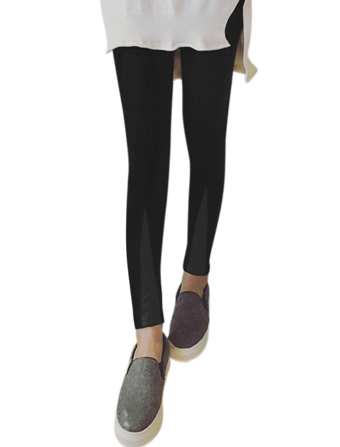 Women Elastic Waist PU Panel Footless Skinny Leggings Black XS